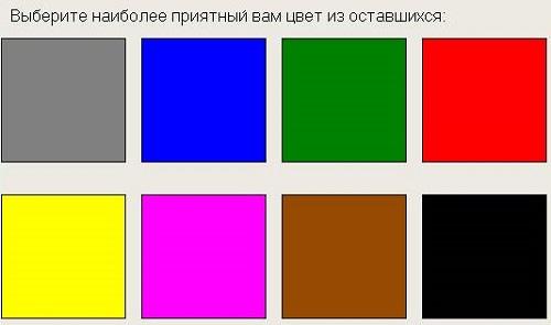 Карточки для теста Люшера