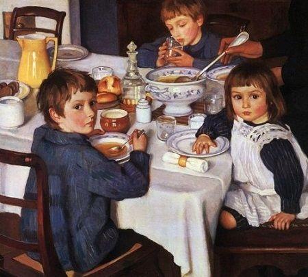 Картина маслом - семья за завтраком