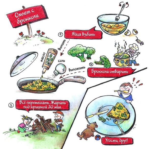 Вкусняшки - рисовашки: Омлет с брокколи