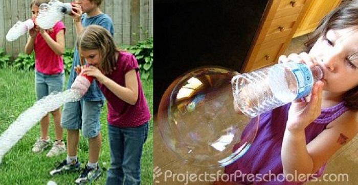 Можно выдувать мыльные пузыри, используя простые приспособления