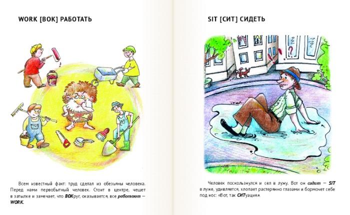 """Пример страниц-образов из книги """"Английский без зубрежки"""""""