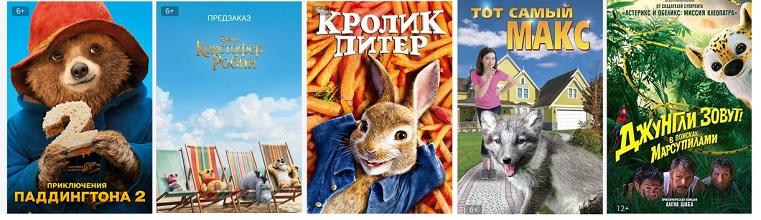 Комедии о животных: Кролик Питер, Тот самый Макс, Кристофер Робин, Приключения Паддингтона-2, Джунгли зовут! В поисках Марсупилами